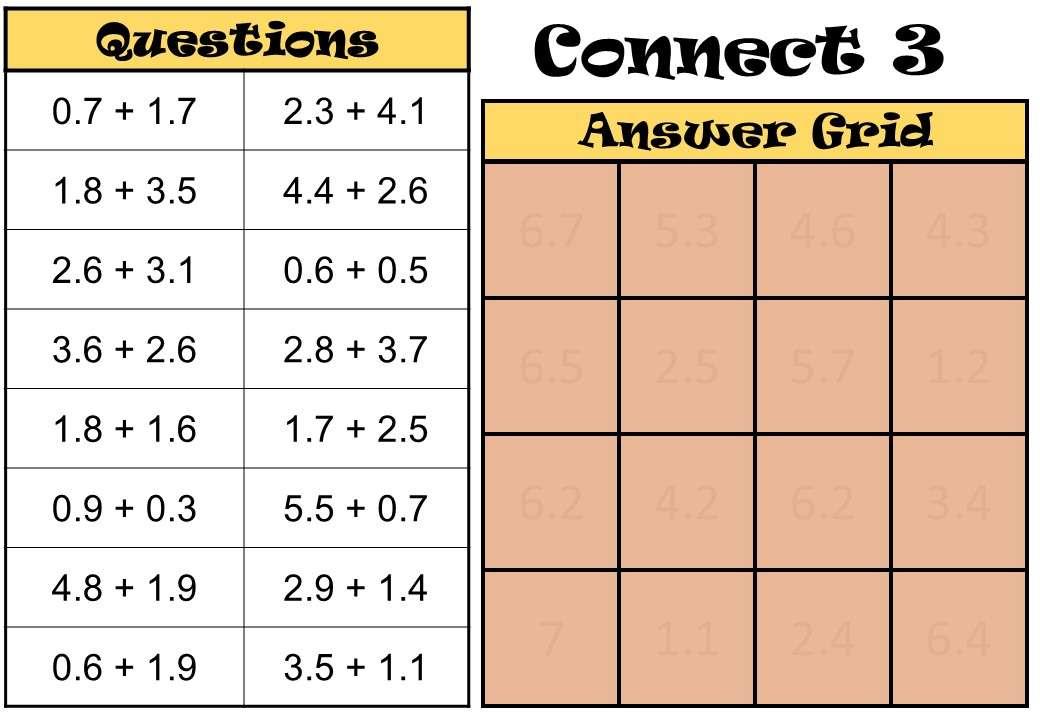 1 Digit Decimals - Adding - Connect 3