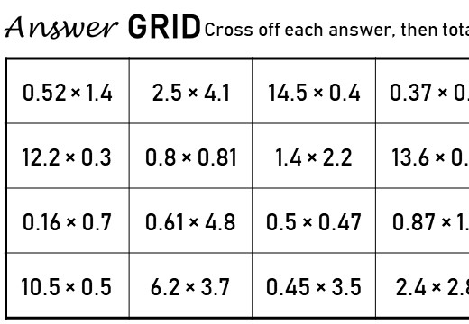 1 Digit Decimals - Multiplying - Answer Grid