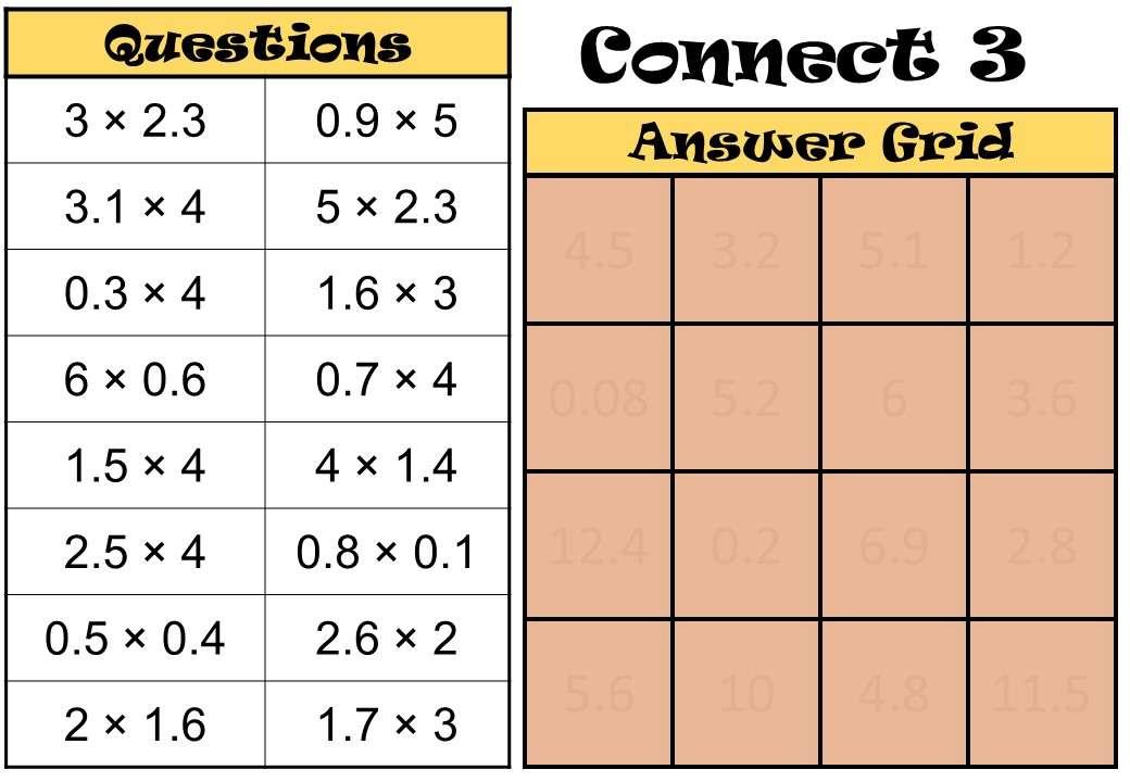 1 Digit Decimals - Multiplying - Connect 3