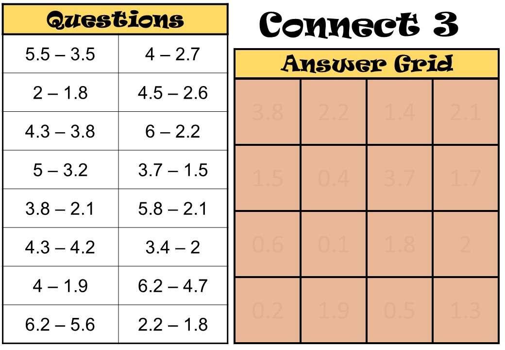 1 Digit Decimals - Subtracting - Connect 3