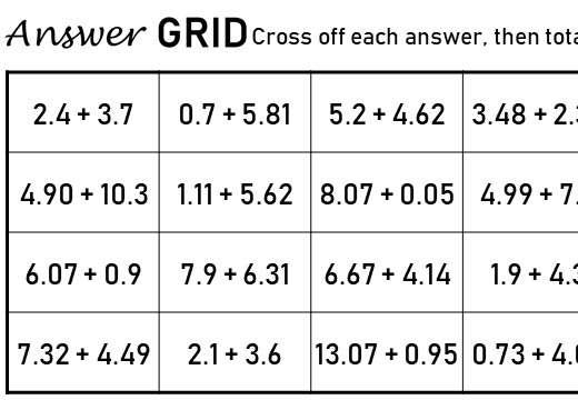 2 Digit Decimals - Adding - Answer Grid
