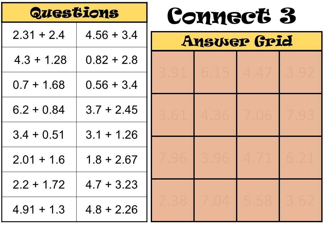 2 Digit Decimals - Adding - Connect 3