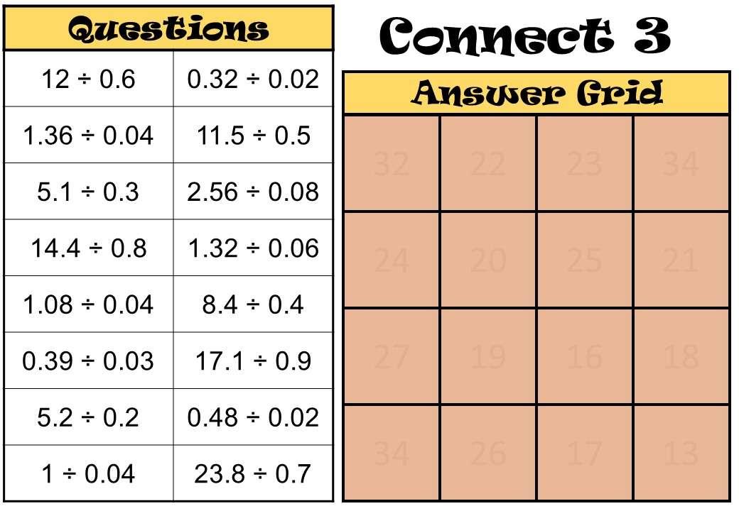 2 Digit Decimals - Dividing - Connect 3