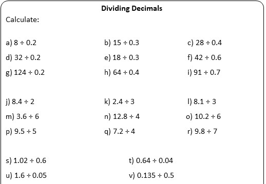 2 Digit Decimals - Dividing - Worksheet A