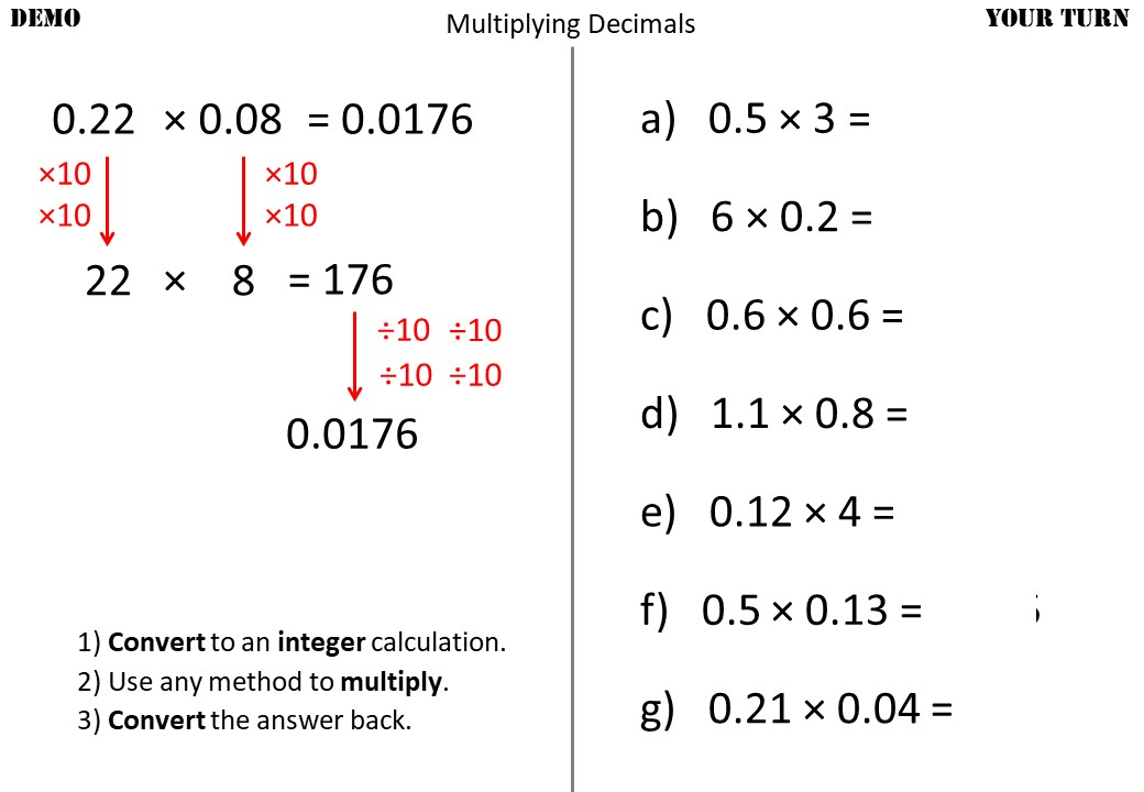 2 Digit Decimals - Multiplying - Demonstration