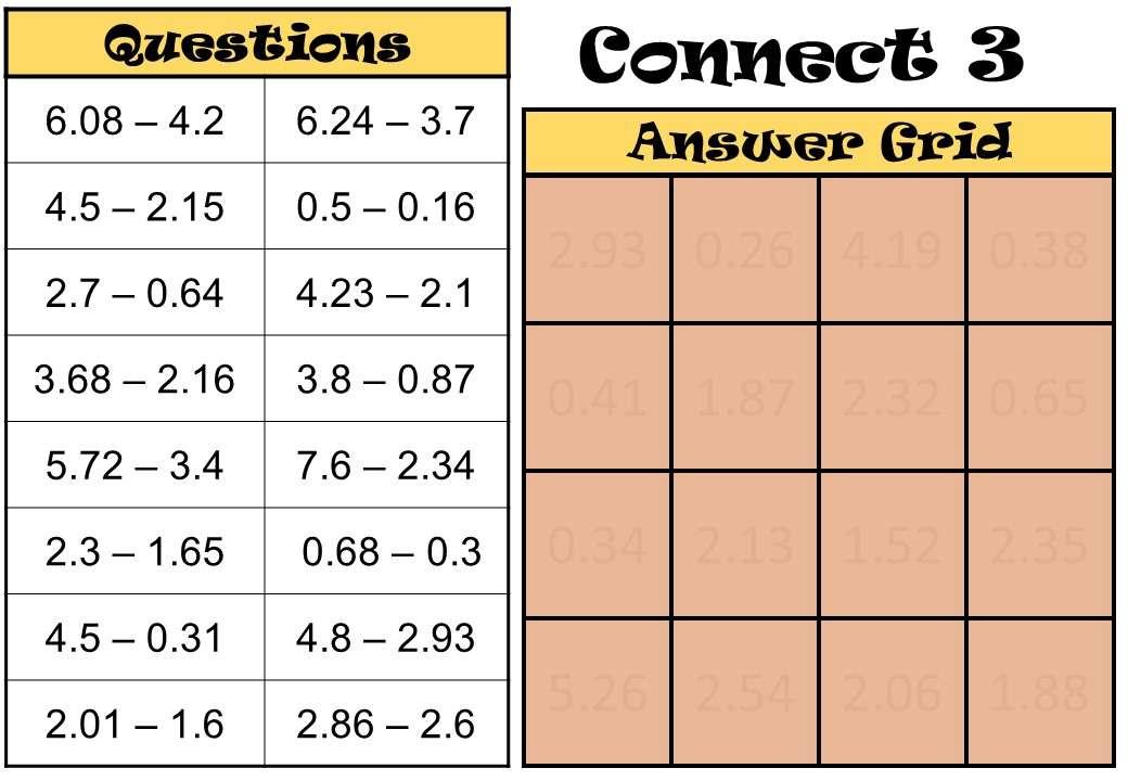 2 Digit Decimals - Subtracting - Connect 3