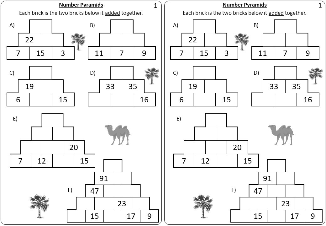 2 Digit Integers - Adding _ Subtracting - Pyramids
