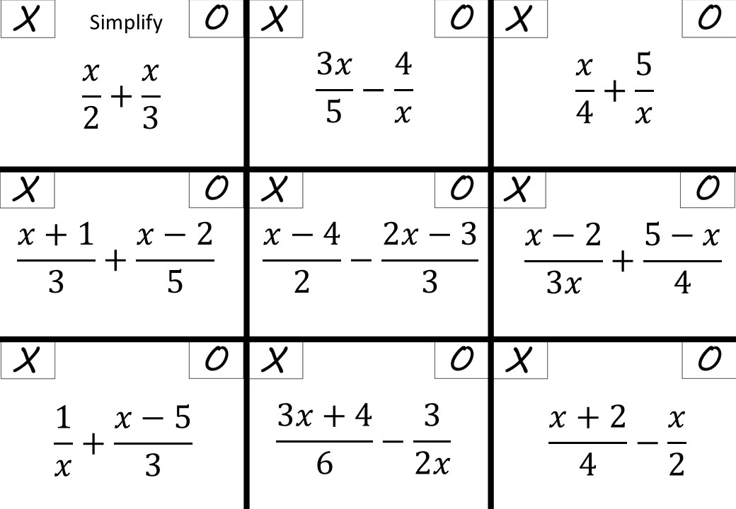 Algebraic Fractions - Adding & Subtracting - Noughts & Crosses