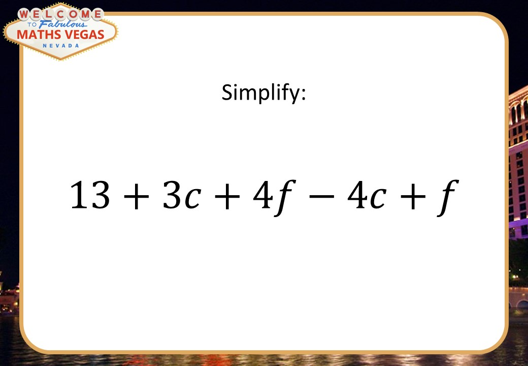 Algebraic Manipulation - Foundation - Maths Vegas