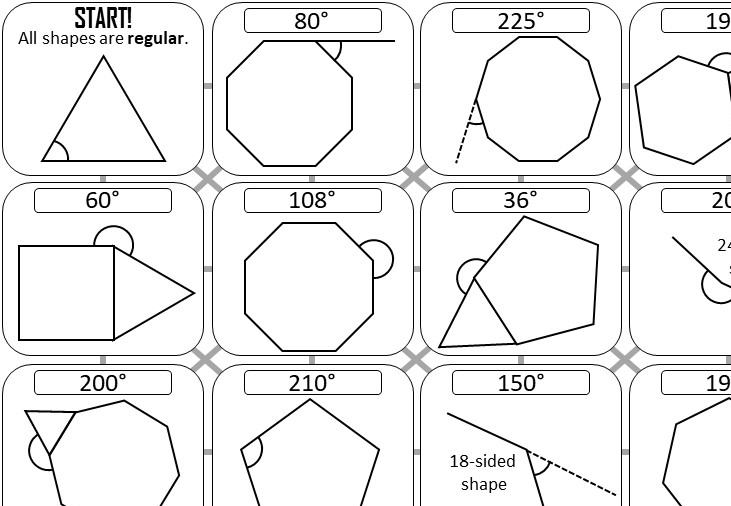 Angles - Regular Polygons - Answer Maze