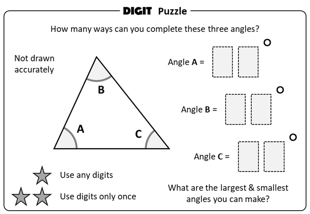 Angles - Triangles - Digit Puzzle