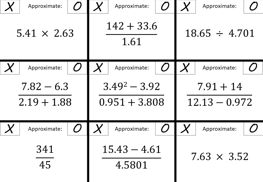 Approximating Calculations - Noughts & Crosses