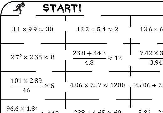 Approximating Calculations - True or False Maze
