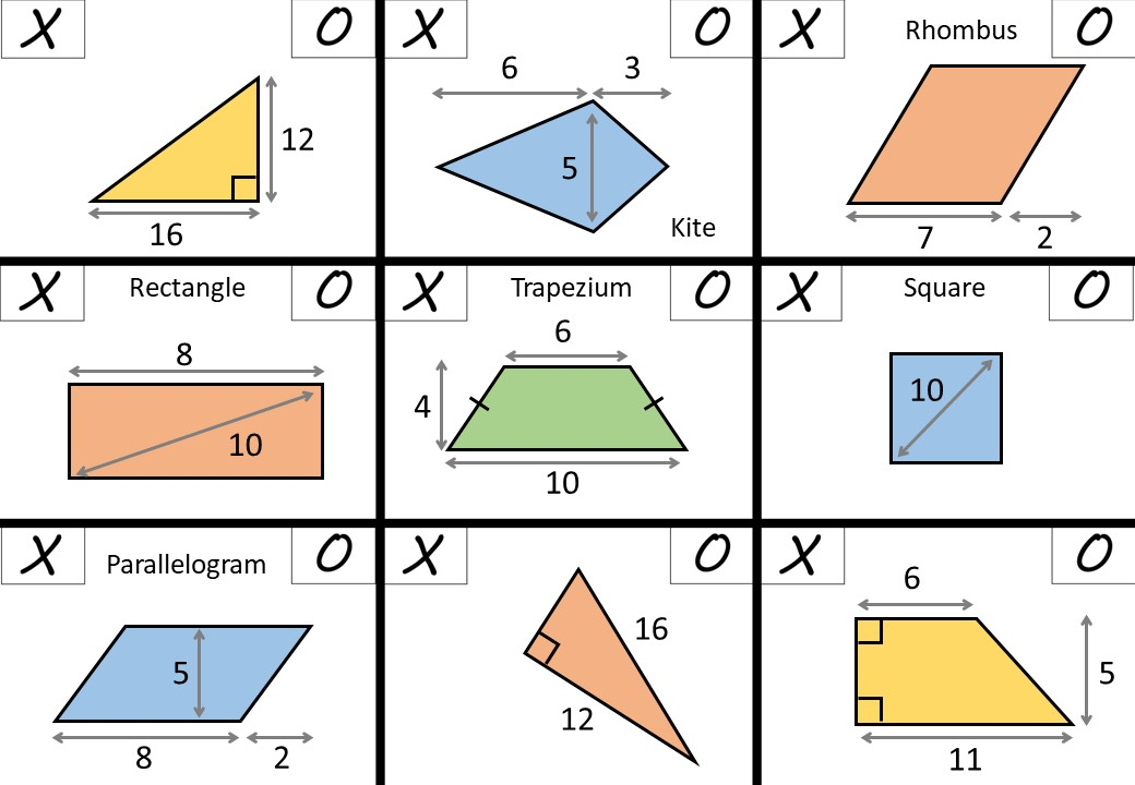 Area & Perimeter - Mixed Polygons - Noughts & Crosses