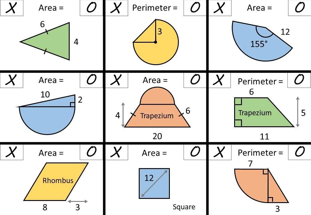 Area & Perimeter - Polygons & Circles - Noughts & Crosses