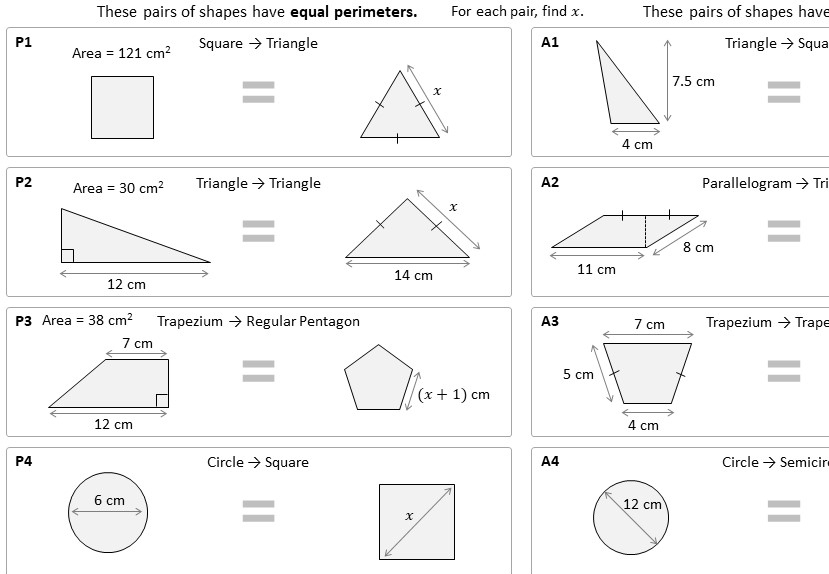 Area & Perimeter - Polygons & Circles - Worksheet A