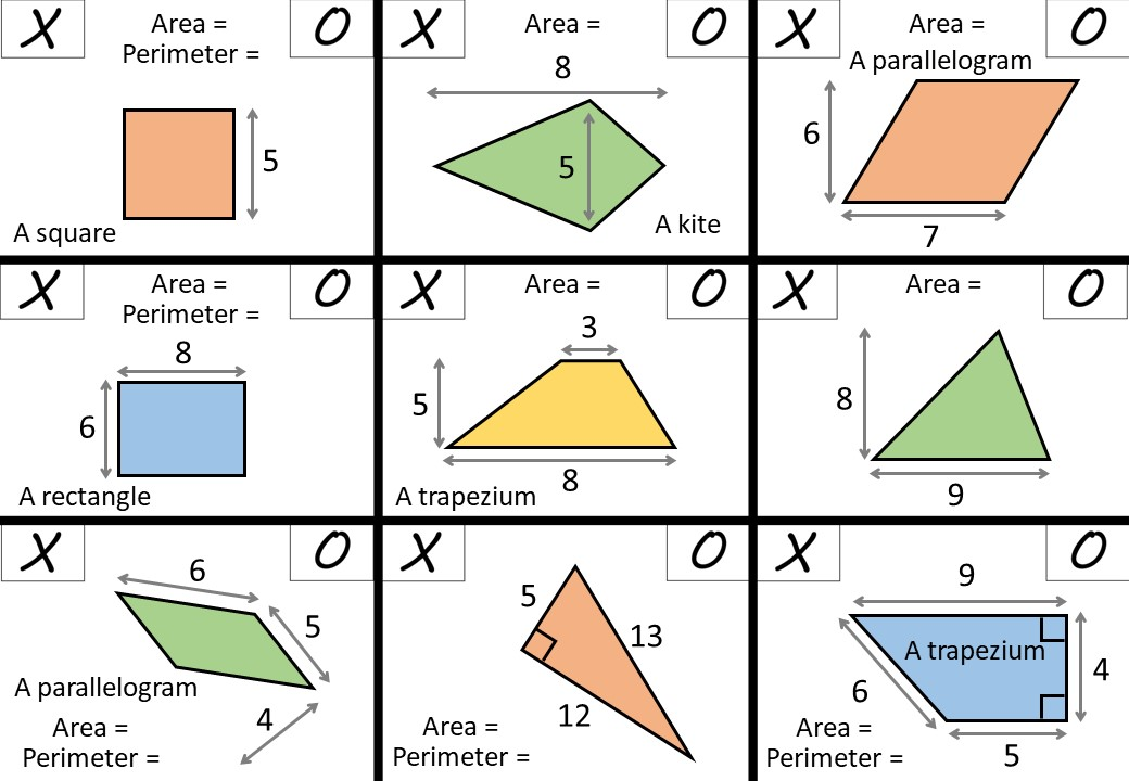 Area & Perimeter - Polygons - Noughts & Crosses