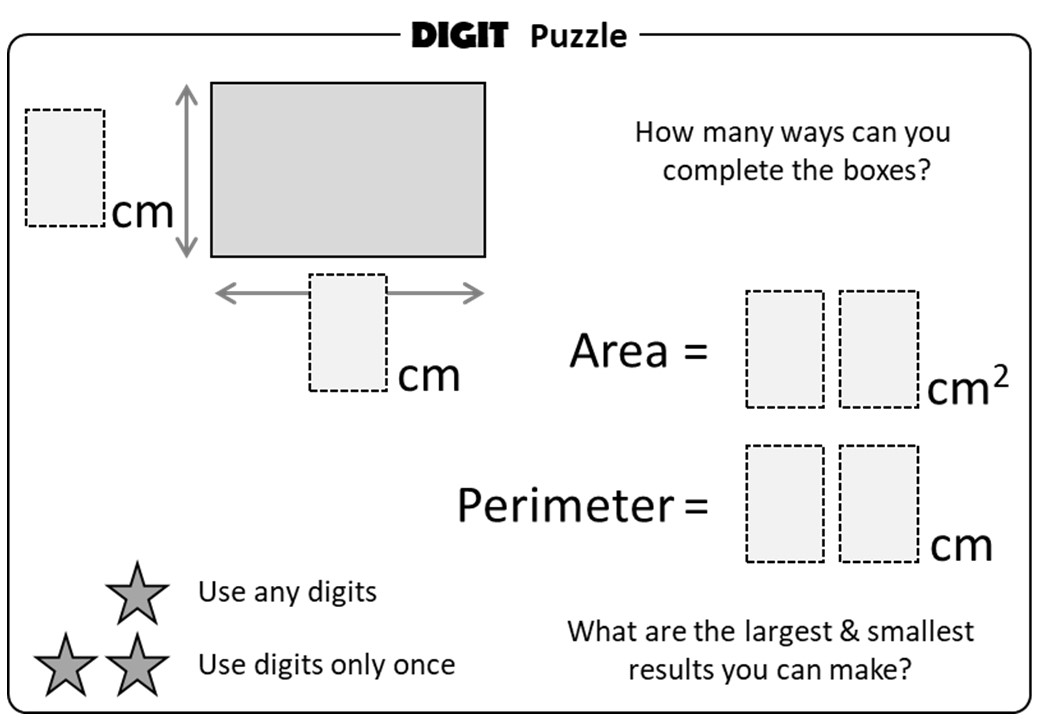 Area & Perimeter - Rectangle - Digit Puzzle