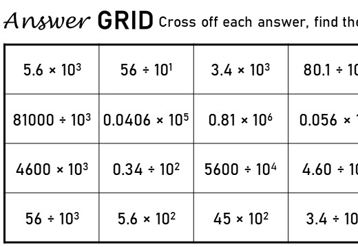 Calculations With Powers of Ten - Answer Grid