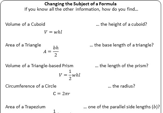 Changing the Subject of a Formula - Without Factorisation - Worksheet B
