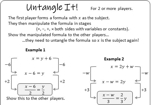Changing the Subject of a Formula - Without Factorisation - Worksheet C