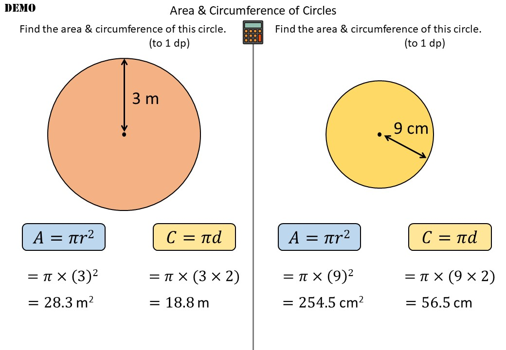 Circle - Area & Circumference - Demonstration