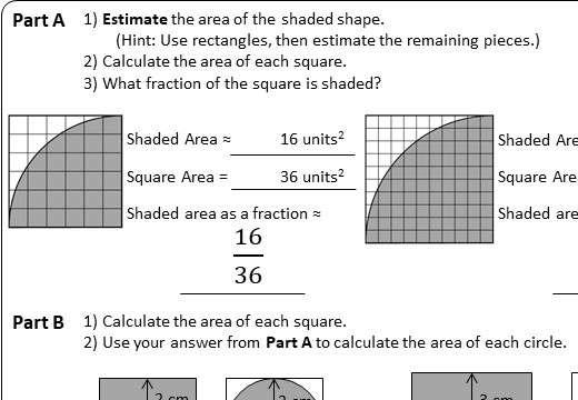 Circle - Area - Worksheet A