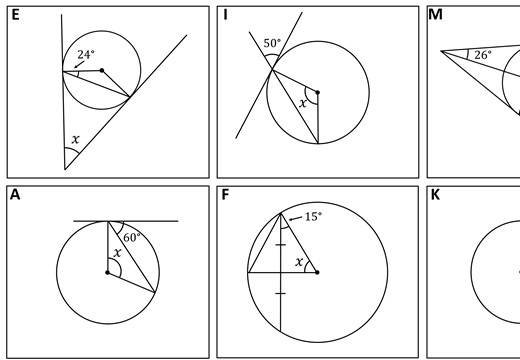 Circle Theorems - Tangents & Chords - Card Match