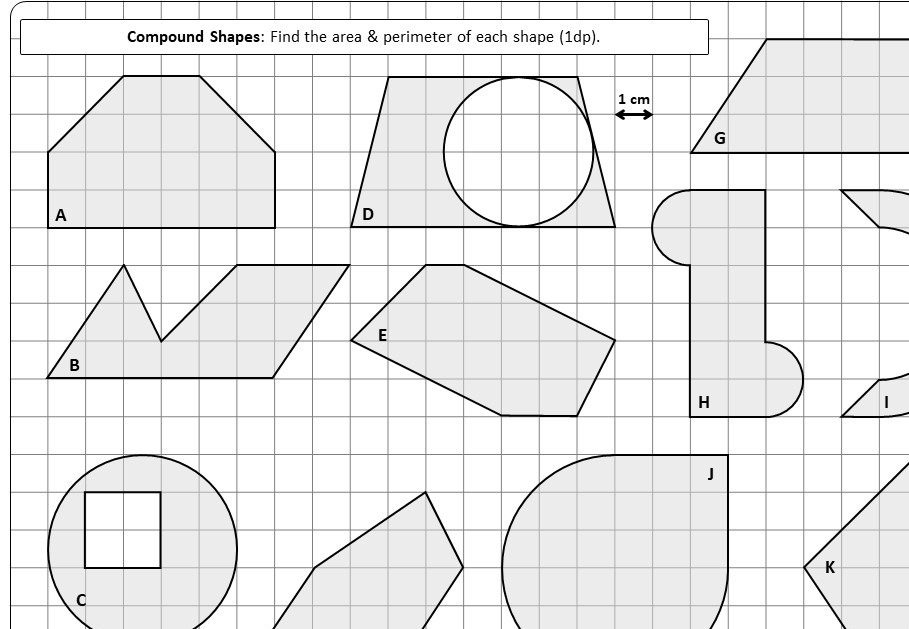 Compound Shapes - With Circles - Area & Perimeter - Worksheet B