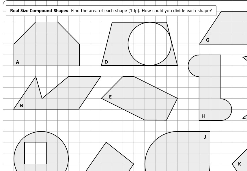 Compound Shapes - With Circles - Area - Worksheet A