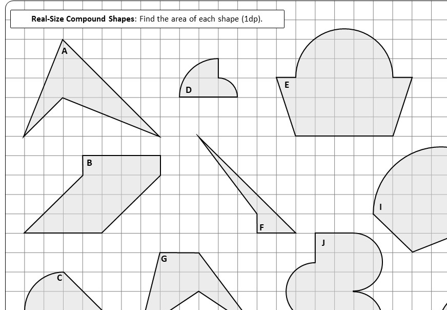 Compound Shapes - With Circles - Area - Worksheet B
