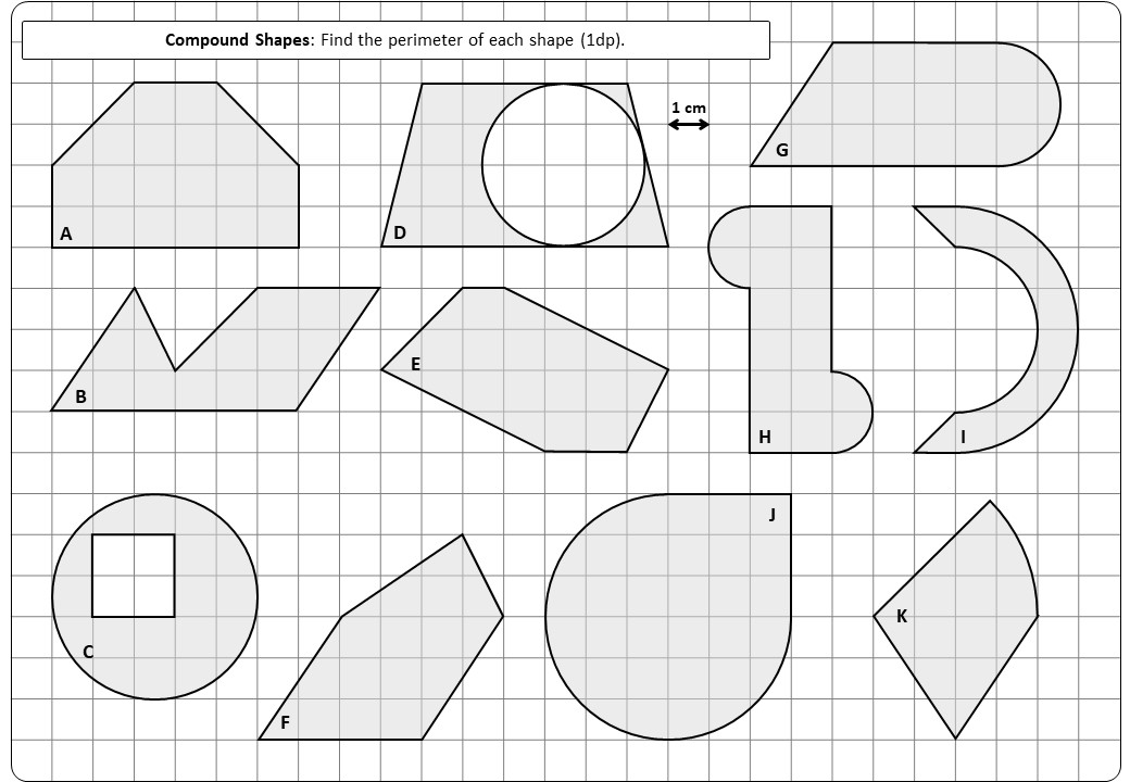 Compound Shapes - With Circles - Perimeter - Worksheet A