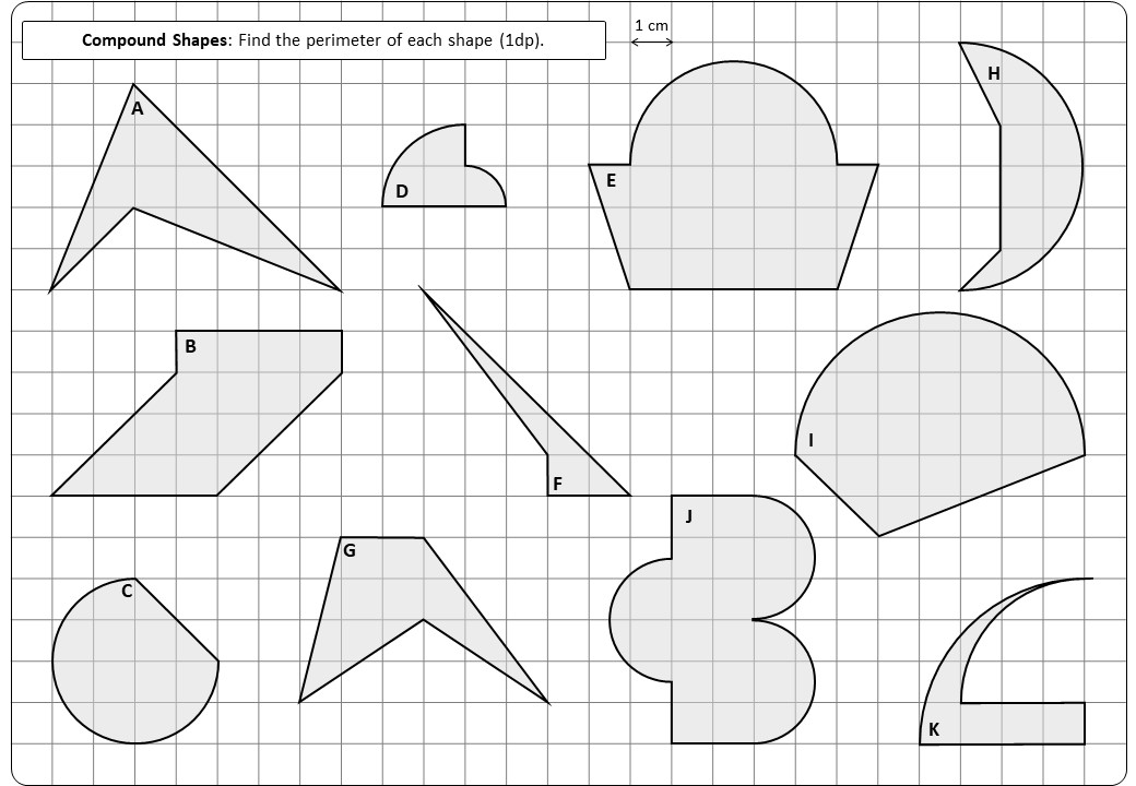 Compound Shapes - With Circles - Perimeter - Worksheet B