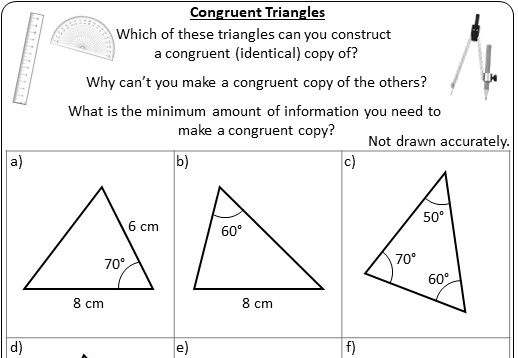 Congruent Triangles - Worksheet A
