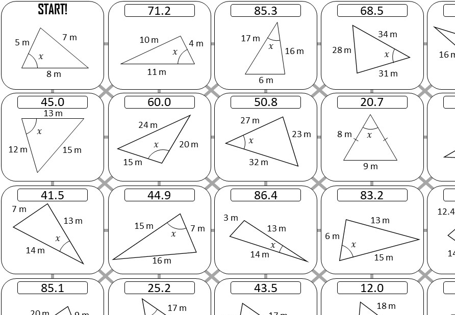 Cosine Rule - Angles - Answer Maze