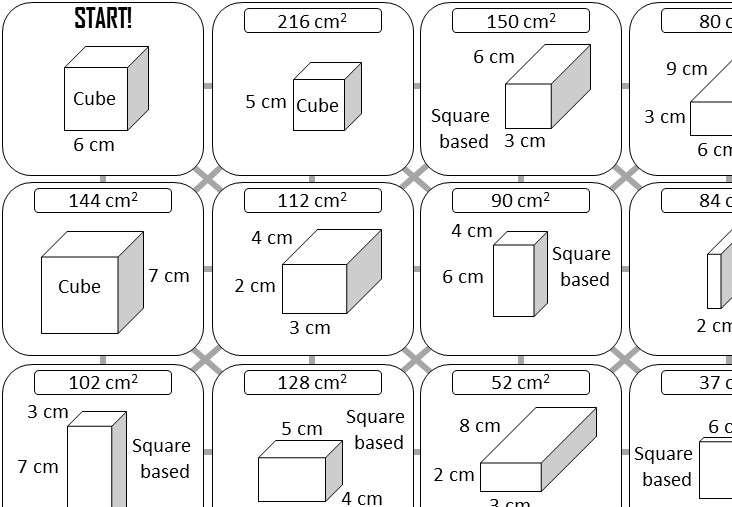 Cuboid - Surface Area - Answer Maze