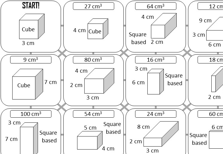 Cuboid - Volume - Answer Maze