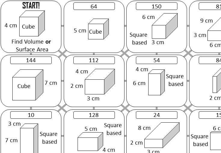 Cuboid - Volume & Surface Area - Answer Maze