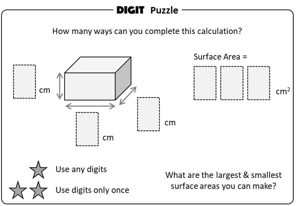 Cuboid - Volume & Surface Area - Digit Puzzle