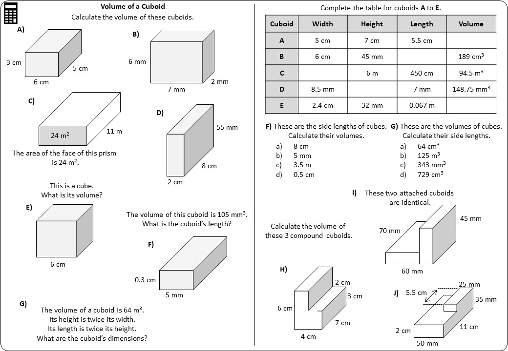 Cuboid - Volume - Worksheet A
