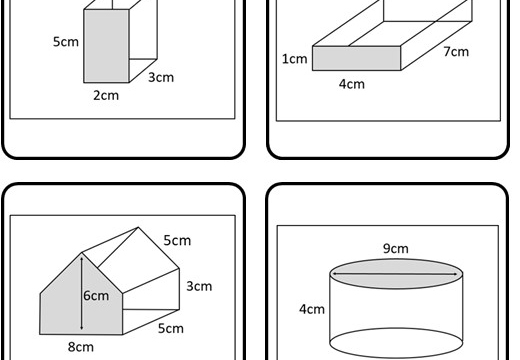 Cylinder & Prism - Surface Area - Card Match