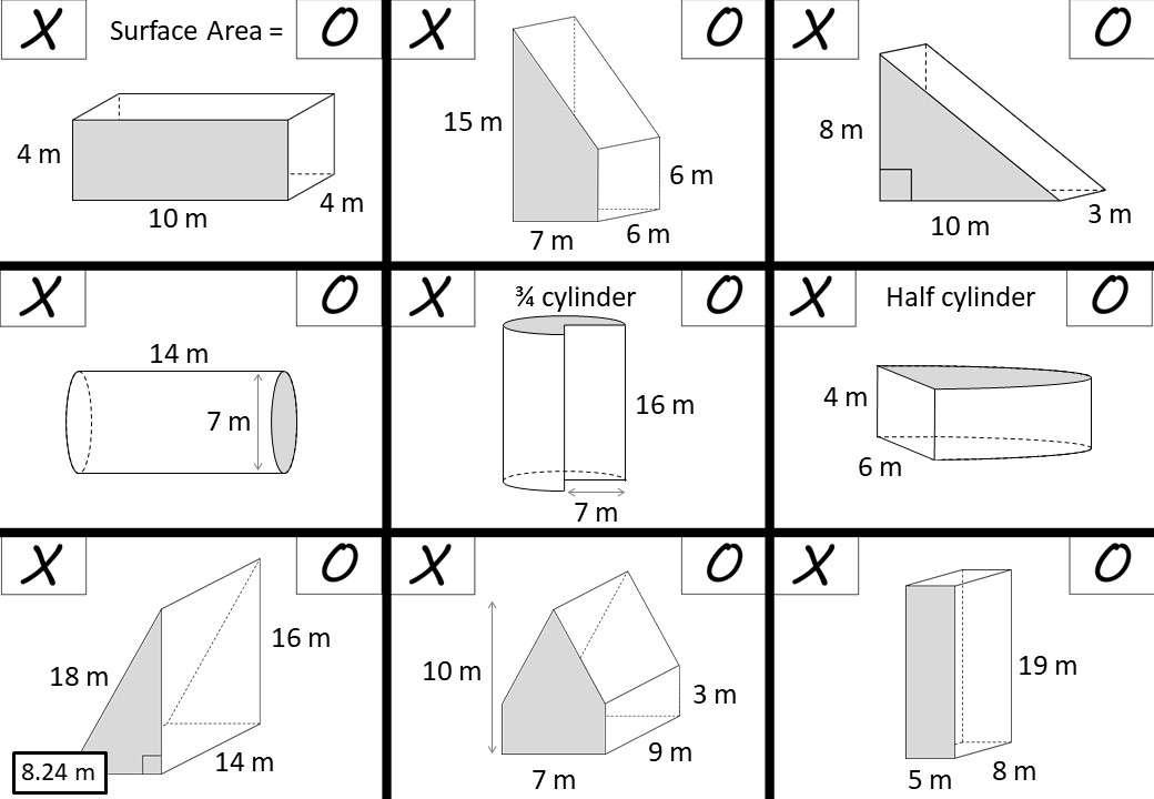 Cylinder & Prism - Surface Area - Noughts & Crosses