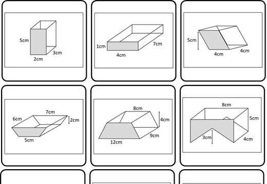 Cylinder & Prism - Volume - Card Match