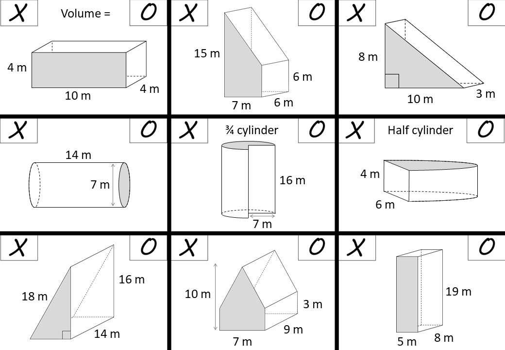 Cylinder & Prism - Volume - Noughts & Crosses