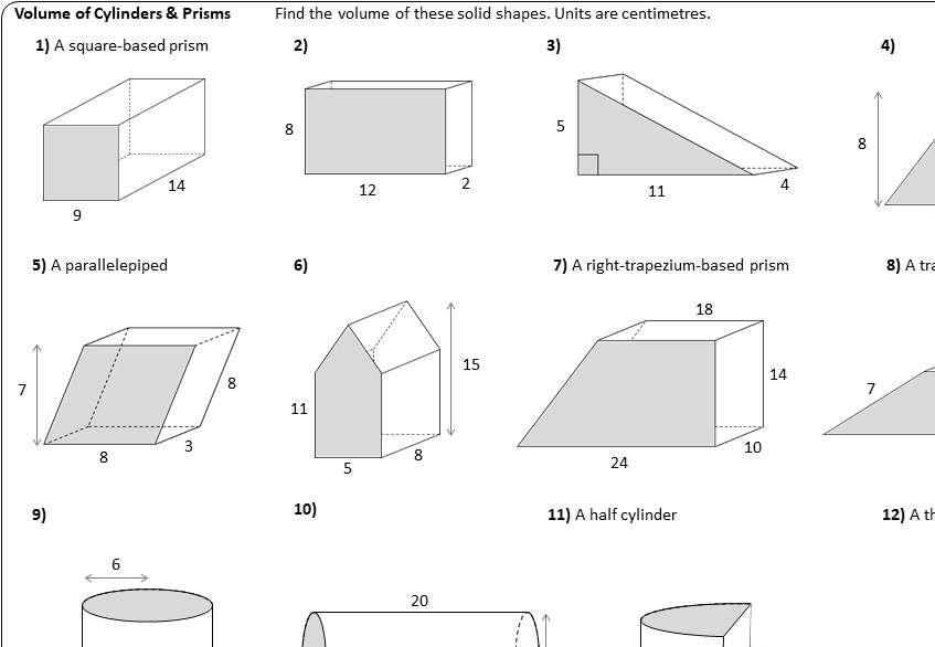 Cylinder & Prism - Volume - Worksheet A