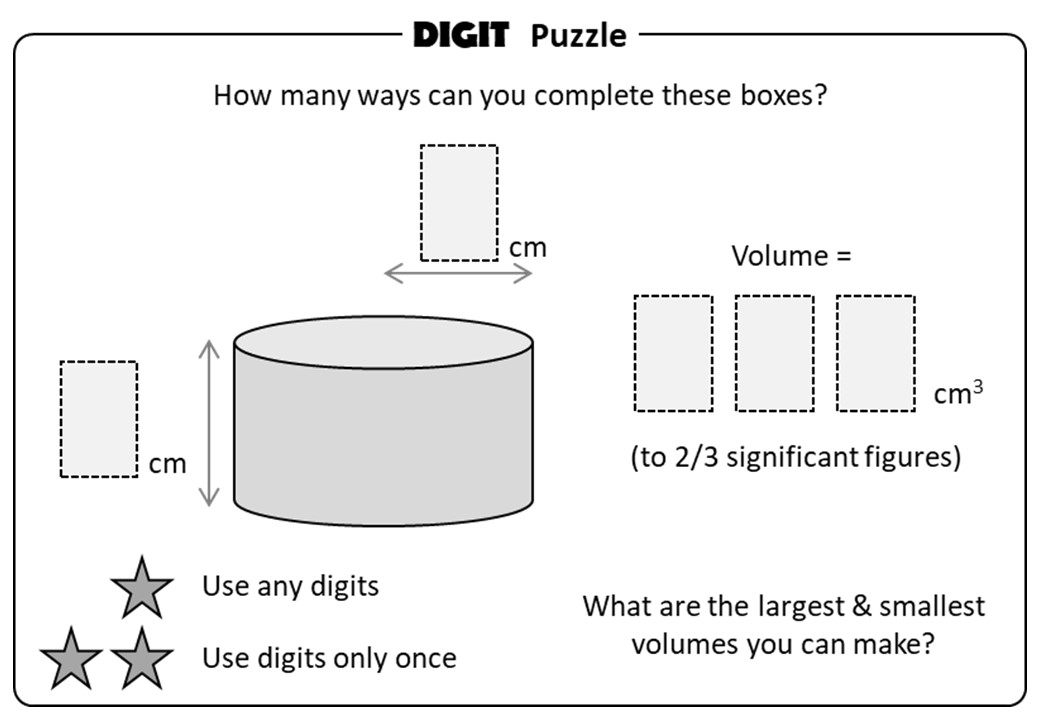 Cylinder - Volume & Surface Area - Digit Puzzle
