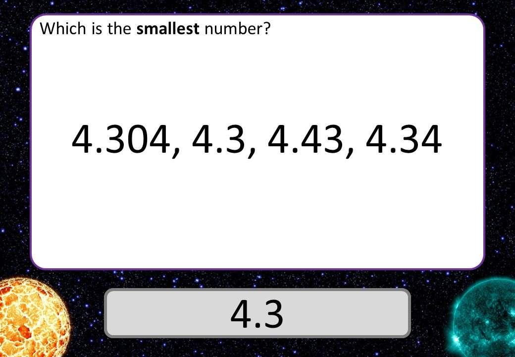 Decimals - Ordering - 3 Stars