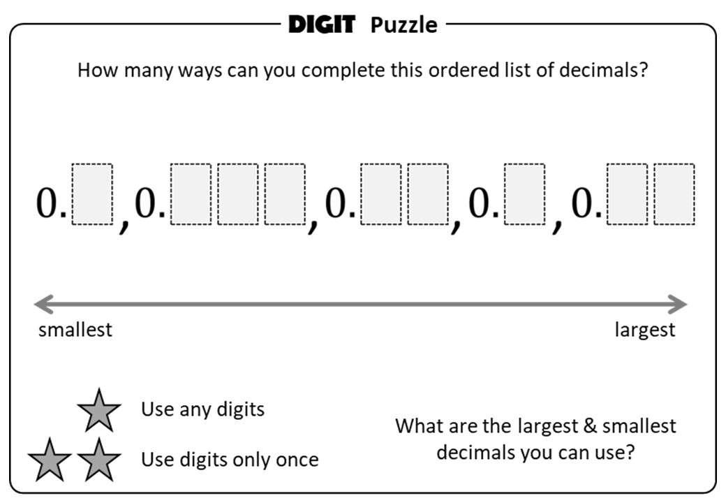 Decimals - Ordering - Digit Puzzle