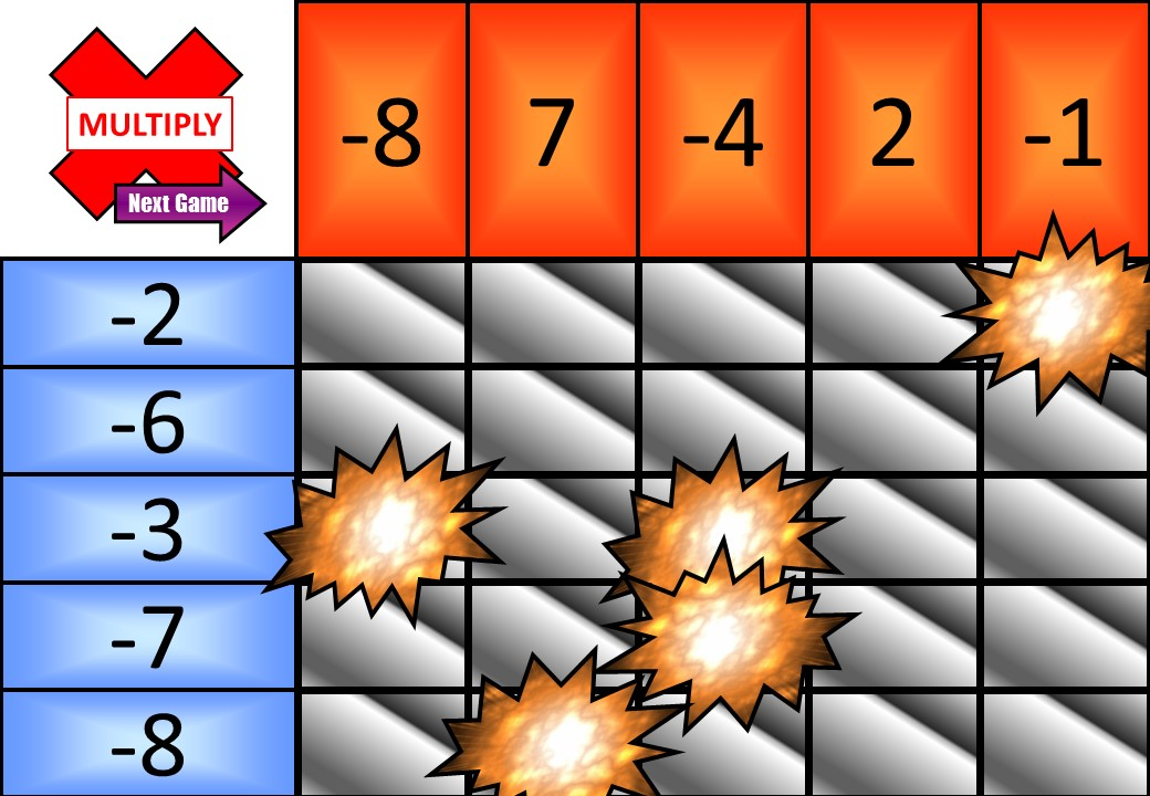 Directed Numbers - Multiplying & Dividing - Minesweeper