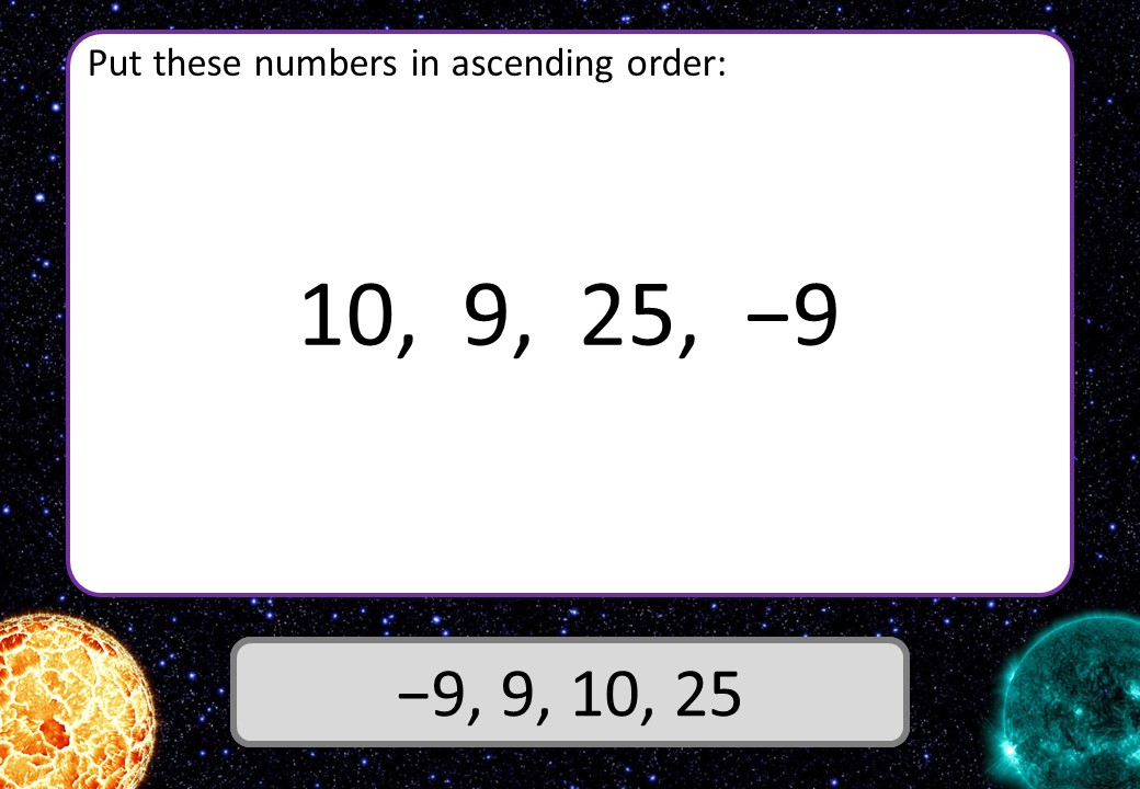 Directed Numbers - Ordering - 3 Stars